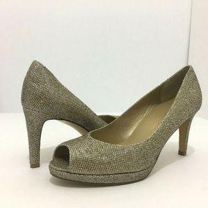 🆕 Stuart Weitzman Gold Peep Toe Heel Bridal Pumps